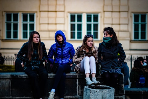 Four candid young women