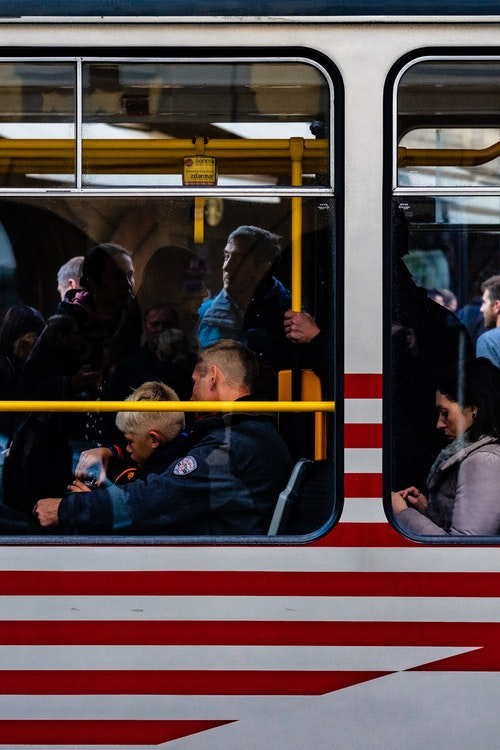 Another side-shot of passengers on the tram