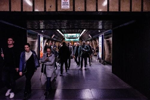 Walking through the subway